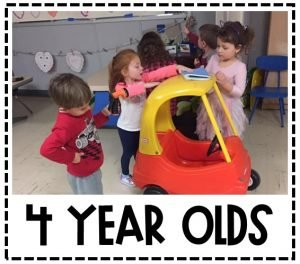 Students playing with a play car. Text reads 4 Year Olds