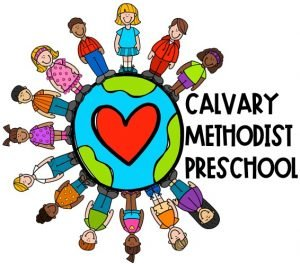 Clipart of a globe with kids standing around it. Text reads Calvary Methodist Preschool