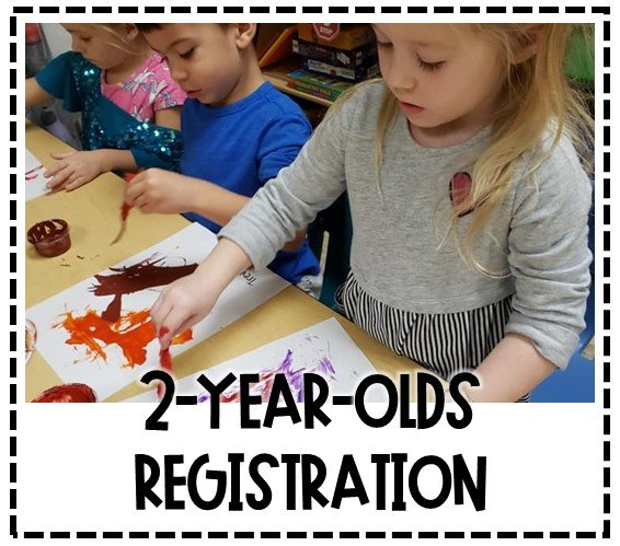 Image of three children at a table painting with feathers. Text Reads 2-Year-Olds Registration